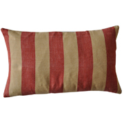 Broad Stripe Weave Cushion Cover Red and Camel
