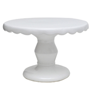 Ceramic Scallop Cake Stand White