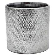 Ceramic Cylinder Vase Silver Texture