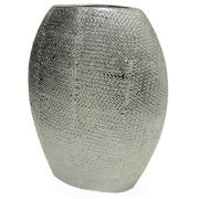 Ceramic Oval Vase Silver Texture