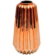 Ceramic Ribbed Copper Vase