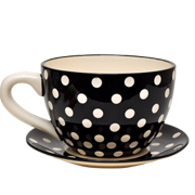 Ceramic Tea Cup and Saucer Polka Dot Black and White