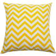 Chevron Cushion Thin Stripe Yellow & White