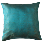 Chinese Satin Cushion Cover Turquoise and Gold