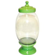 Cookie Jar Oval Base and Lid Green
