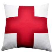 Cotton Cushion Cover White and Red Cross