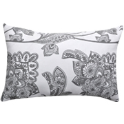 Cushion Cover Floral Print Grey on White