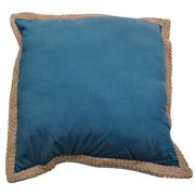 Denim and Hessian Edge Cushion