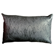 Embossed Snake Skin PVC Cushion Cover Silver