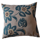 Floral Pattern Print Cushion Cover Teal on Stone