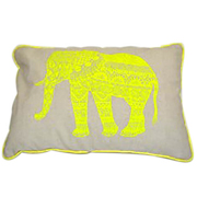 Grey Cushion with Yellow Elephant