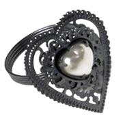 Grey Heart Diamante Napkin Ring
