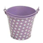 Lilac and White Polka Dot Tin Bucket Mini Size