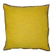 Linen & Hessian Edge Cushion Yellow