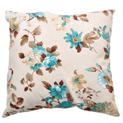 Floral Cushion Cover Beige, Brown and Aqua
