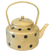 Metal African Teapot Gold and Black Polka Dot