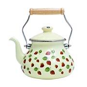 Metal Teapot Cream Floral