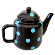 Metal African Teapot Black and Blue Polka Dot