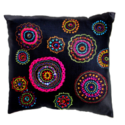 Multicoloured Circle Design Cushion Cover Sequin and Embroidery