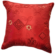 Oriental Sequin Cushion Red A