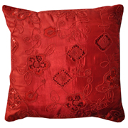 Oriental Sequin Cushion Red B