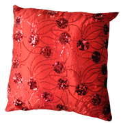 Oriental Sequin Cushion Red C