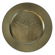 Floral Under Plate Old Gold