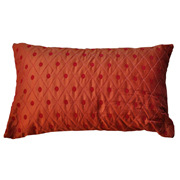 Plush Quilted Taffeta Cushion Cover Orange with Red