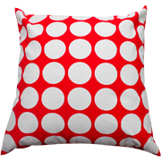 Polka Dot Cushion Large White Dots on Red