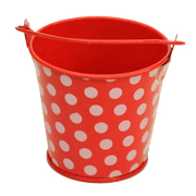 Red and White Polka Dot Tin Bucket Small Size