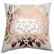 Rose Gold Damask Print Cushion Cover