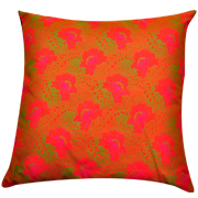 Shweshwe Print Cushion Cover Floral Pink, Lime Green and Orange