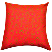 Shweshwe Print Cushion Cover Wave Pink, Lime Green and Orange