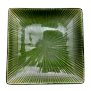 Side Plate Square Green Glazed