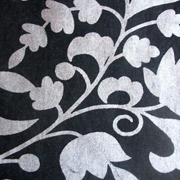 Silver Floral Print on Black Runner