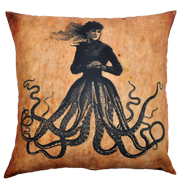 Steampunk Cushion Cover Lady Octopus