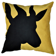 Suede Printed Springbok Cushion Cover Black on Yellow