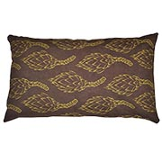 Suede Printed Protea Cushion Cover Yellow on Brown