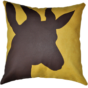 Suede Printed Springbok Cushion Cover Brown on Yellow