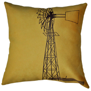 Suede Printed Windmill Cushion Cover Brown on Yellow