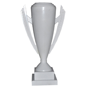 Trophy Traditional Cup on Wood Base White