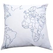 Twill Cushion Cover World Map Print