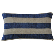 Weave Broad Stripe Cushion Cover Navy and Beige