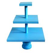Wooden Scallop 3 Tier Cake Stand Powder Blue