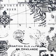 Runner Vintage Maps Black on Beige