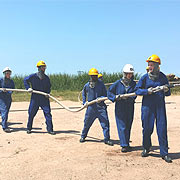FIRE FIGHTING STUDENTS IN POSITION