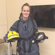 STCW 2010 - Fire Fighting student all kitted out for her practical exam.