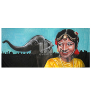 Indian Lady and Elephant