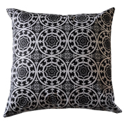 Architecture Pattern Print Cushion Cover Black on White