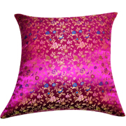 Asian Brocade Cushion Cover Magenta